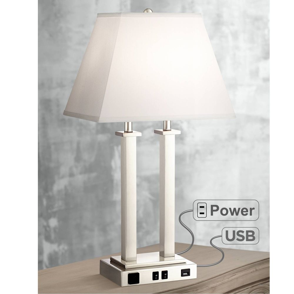 modern table lamp with usb brushed steel side outlet for living room rh pinterest com