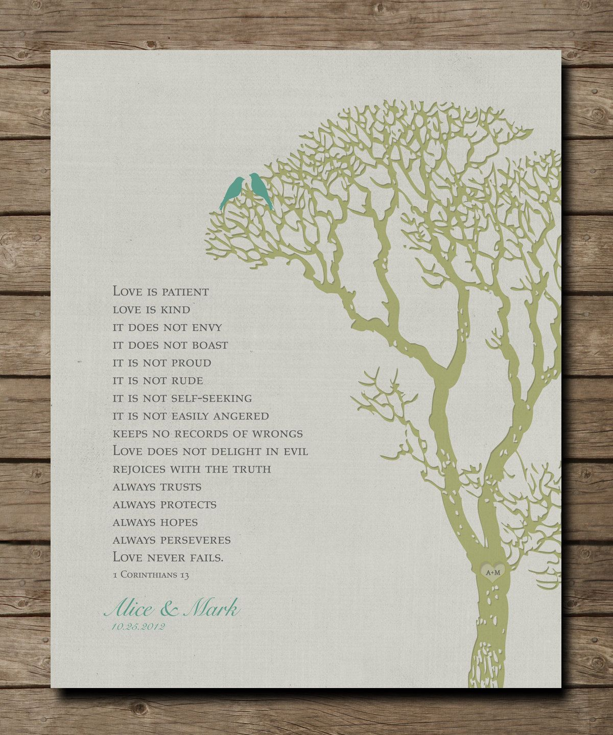 Personalized Wedding Tree Anniversary Gift Print 1 Corinthians 13 Love is Patient Bible Verse personalized with NAMES 8 x 10