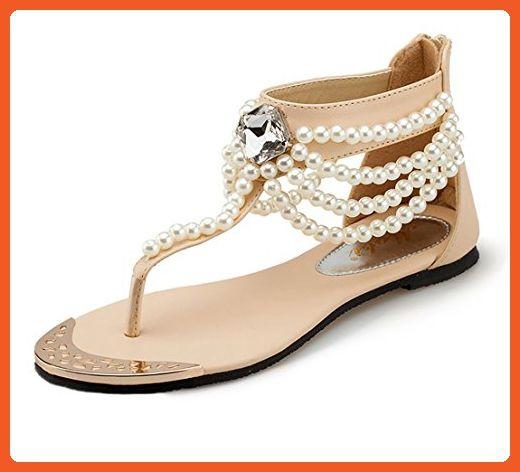 Womens Summer Bohemian Beads Back Zip peals Flat Sandals Girls shoes