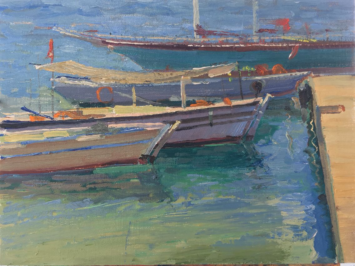 """""""Turkish Fishing Boats"""" Oil on Canvas, 9""""x11"""" Painted on location in Turkey June 2016"""