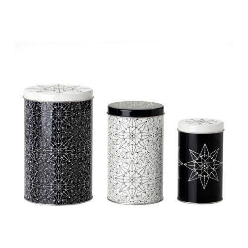 Ikea vinter 2016 tin set of 3 black white suitable for cakes biscuits and other dry foodstuffs