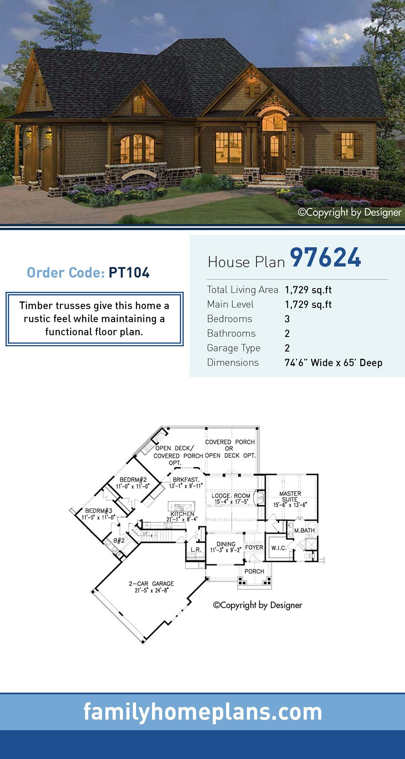 Craftsman House Plan 97624 Total Living