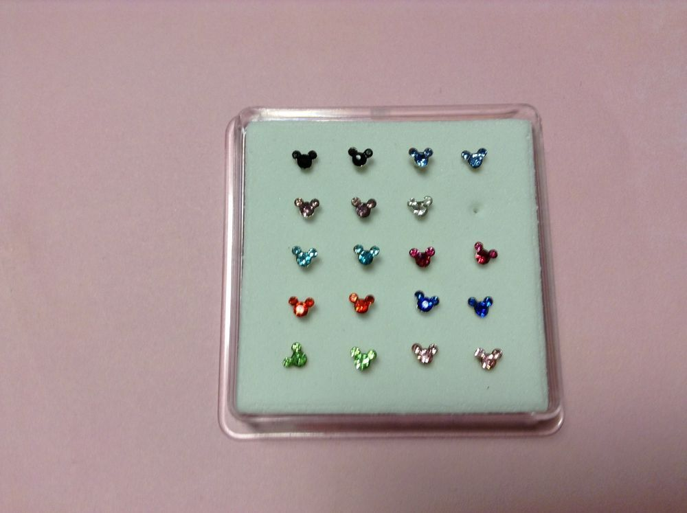 Rhinestone Gem Nose Bone Ring Stud Mickey Mouse 20 G Stainless