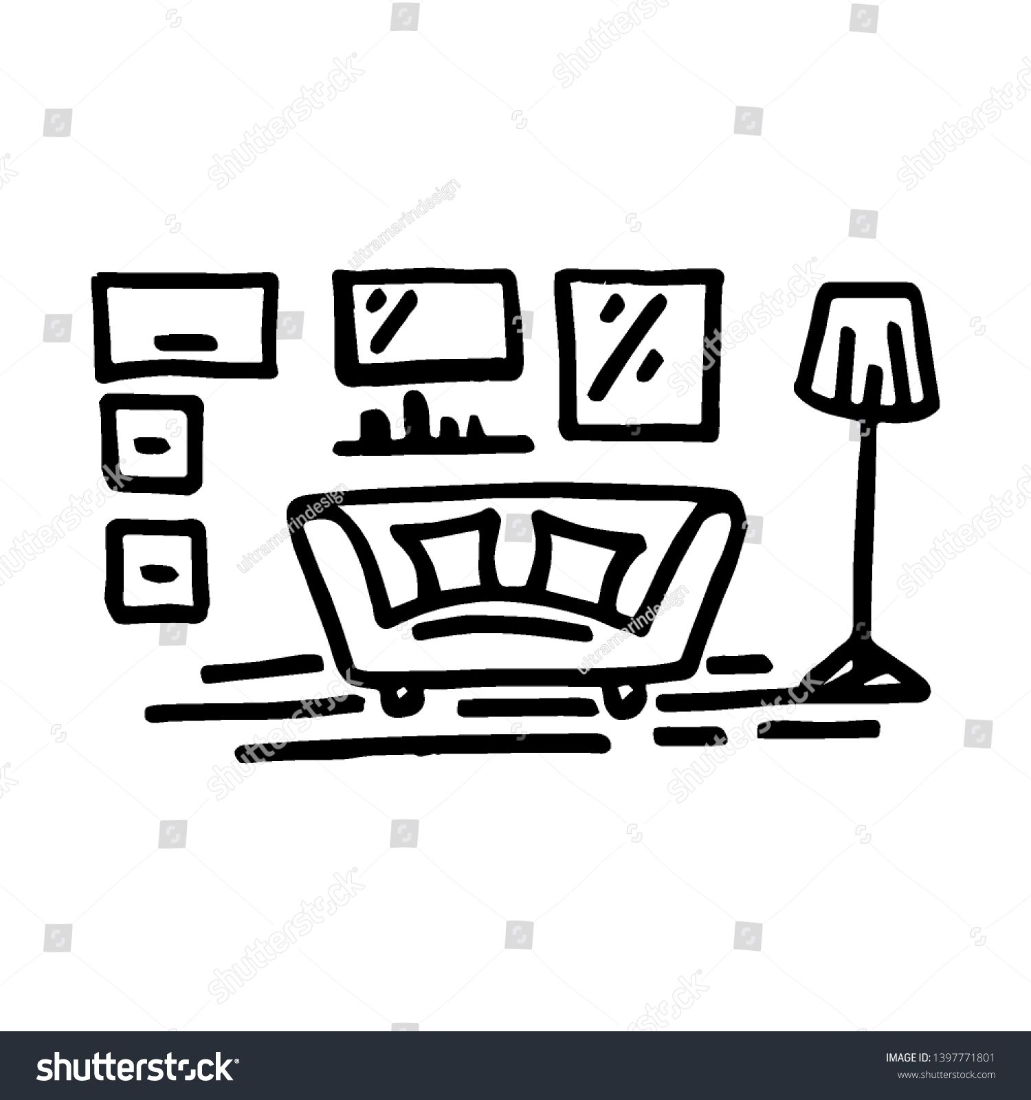 Living Room Interior Vector Illustration Hand Drawing Doodle