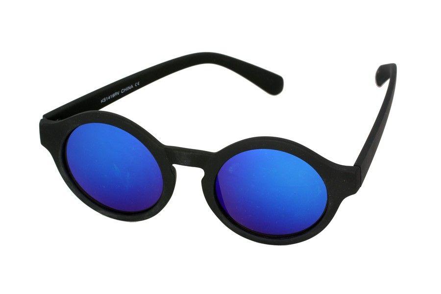 Rund sort mat solbrille med multi spejl glas