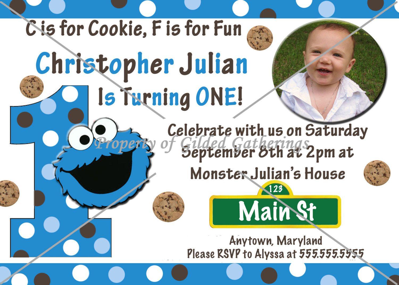 Cookie Monster Invitation. $10.00, via Etsy. | Jay\'s 1st Birthday ...