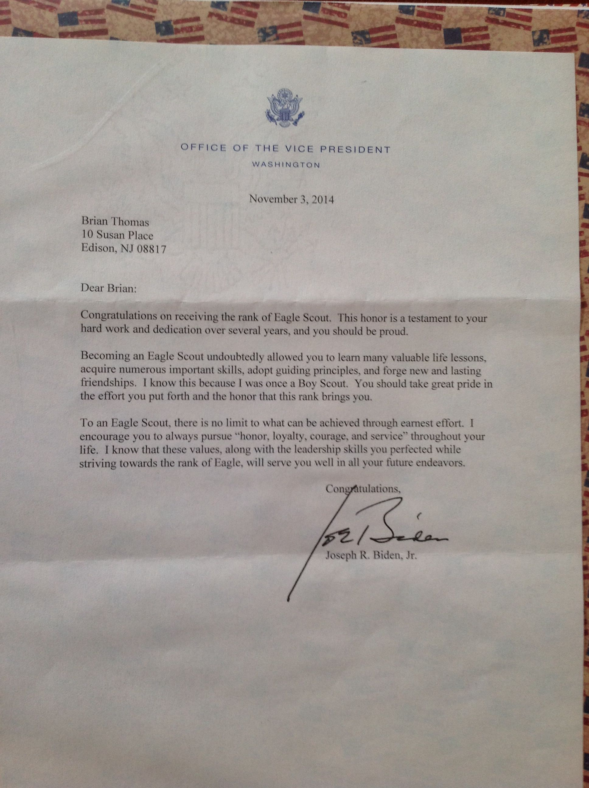 Eagle Court Of Honor Letter Of Congratulation Vice President Joe