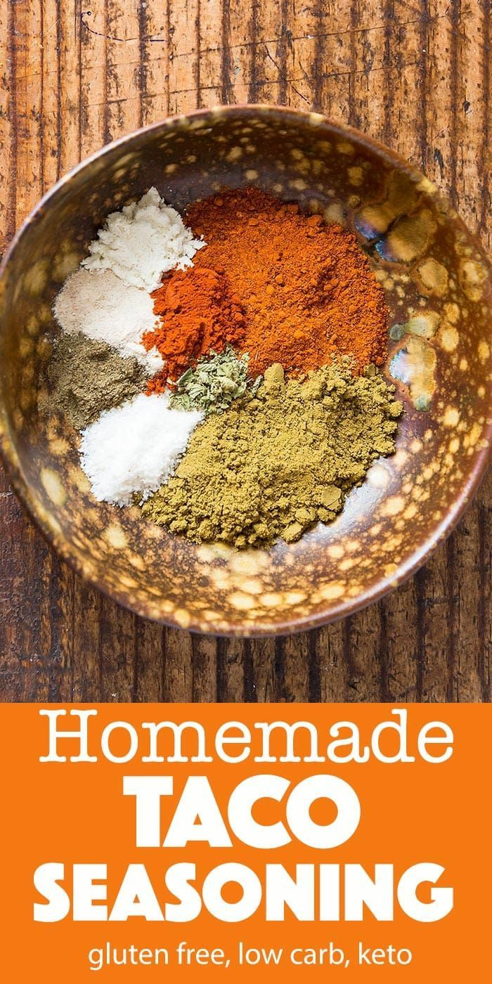 Gluten Free Taco Seasoning Recipe (low carb, keto) » LeelaLicious #maketacoseasoning Make your own homemade gluten free taco seasoning! You save a lot compared to store-bought taco seasoning packets and on top of that you get to avoid the fillers and preservatives. There is a good chance that you already have all of the taco mix ingredients needed in your spice cabinet. #tacos #glutenfree #tacoseasoning #spices #spicemix #homemade #mexican #recipes #groundbeef #lowcarb #keto #mix #recipe