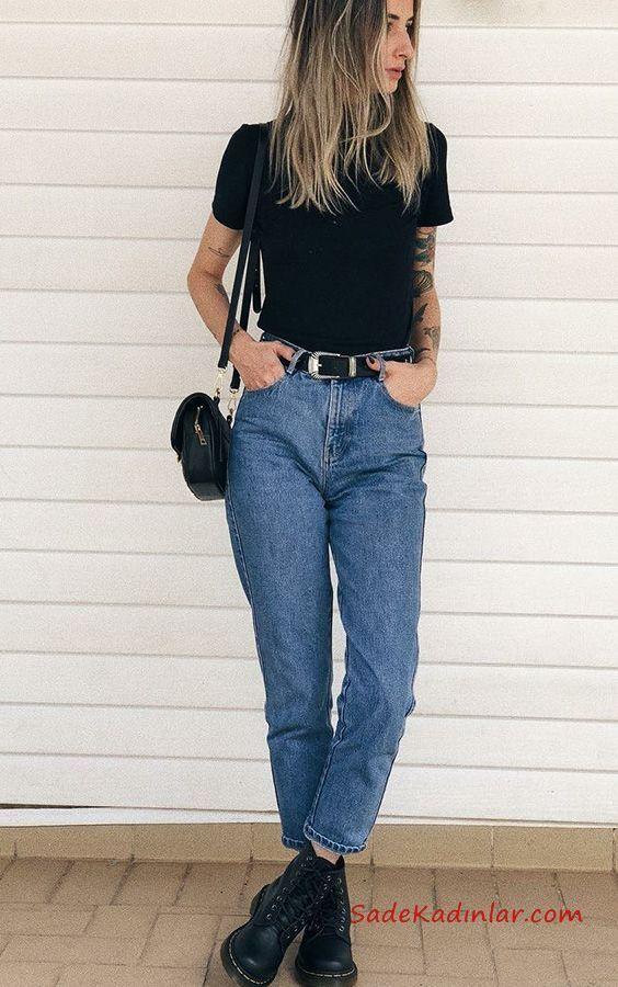 2019 Mom Jean Kombinleri Mavi Mom Jeans Siyah Kısa Kollu Tişört Siyah Ankle Bot