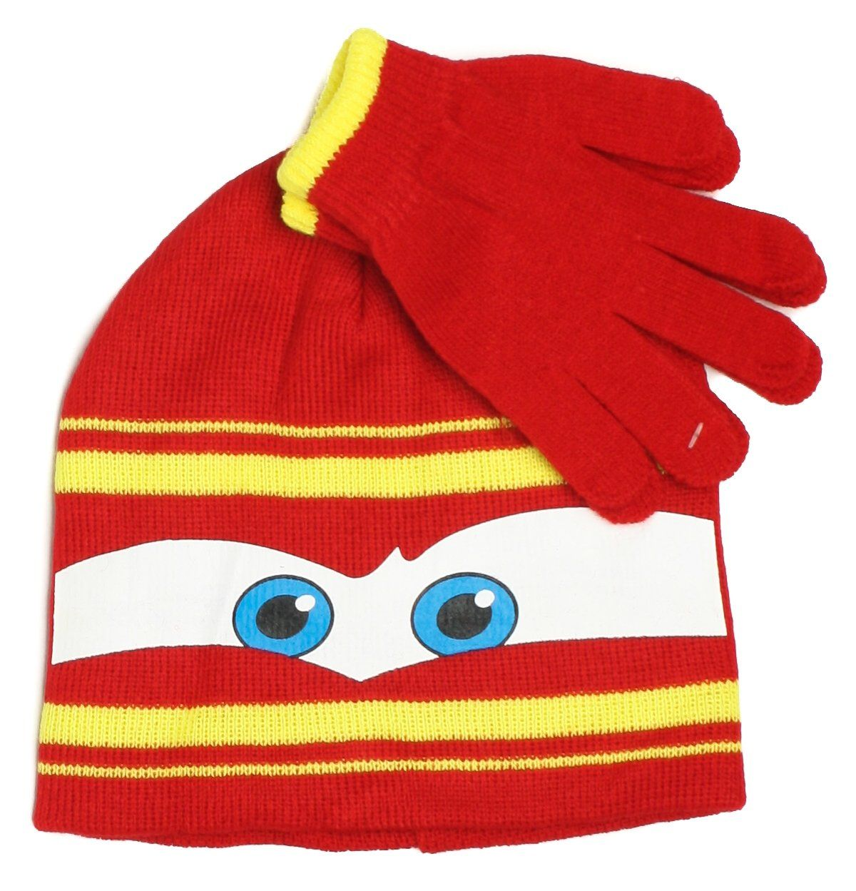 Disney Pixar Lightning McQueen Cars Winter Beanie Hat and Gloves Set ... 13a17eaa4779