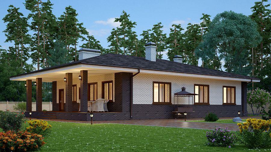 Проект красивого одноэтажного дома террасой s-153 (S-153 ...