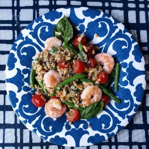 Lemon-Dijon Vinaigrette Shrimp and Farro with Vegetables - #bitofdelish #healthyeating #italianscancookanything