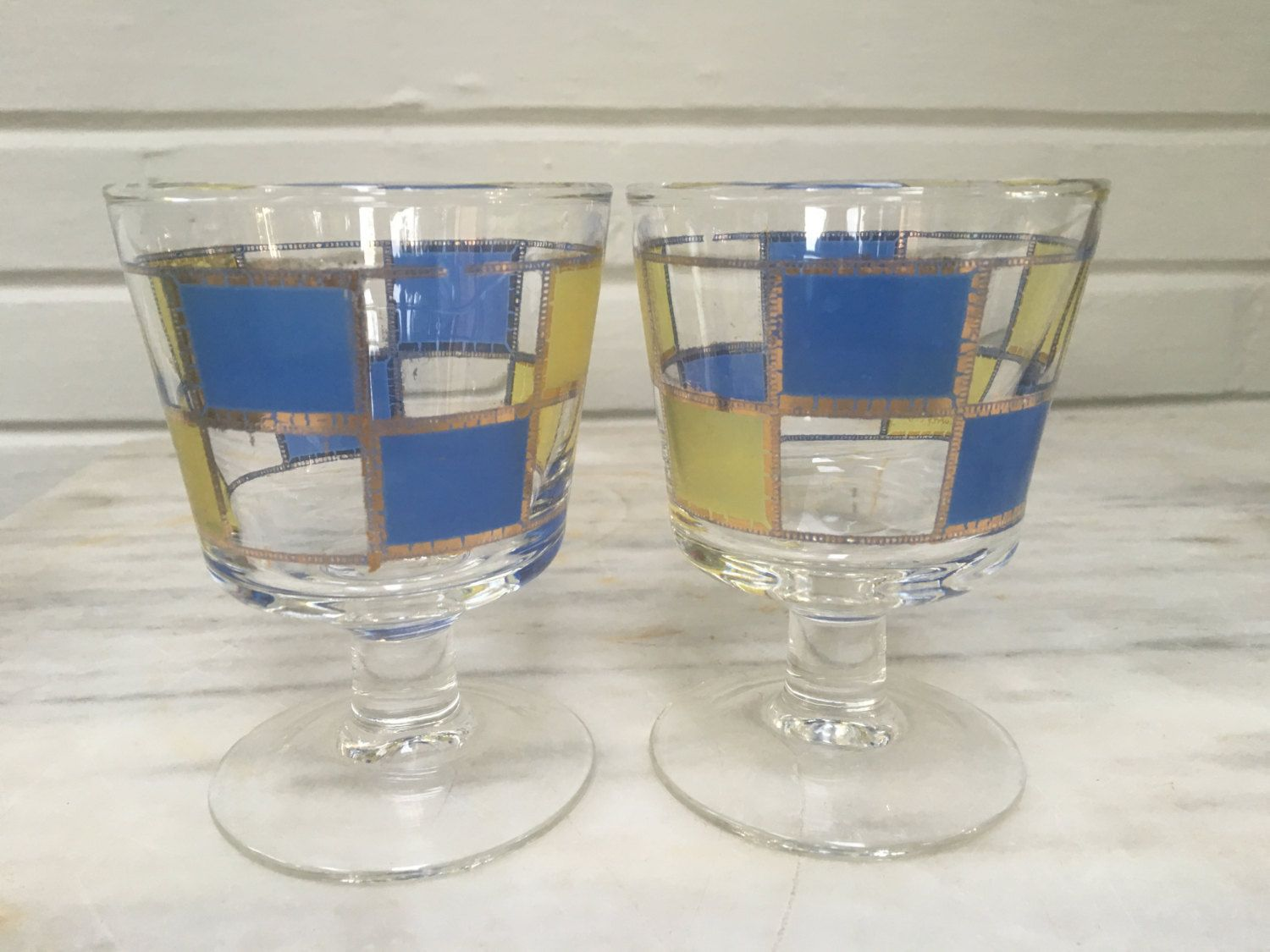 Vintage Culver Parfait Glasses, Set Of 2, Retro Barware, Geometric Gold  Blue And