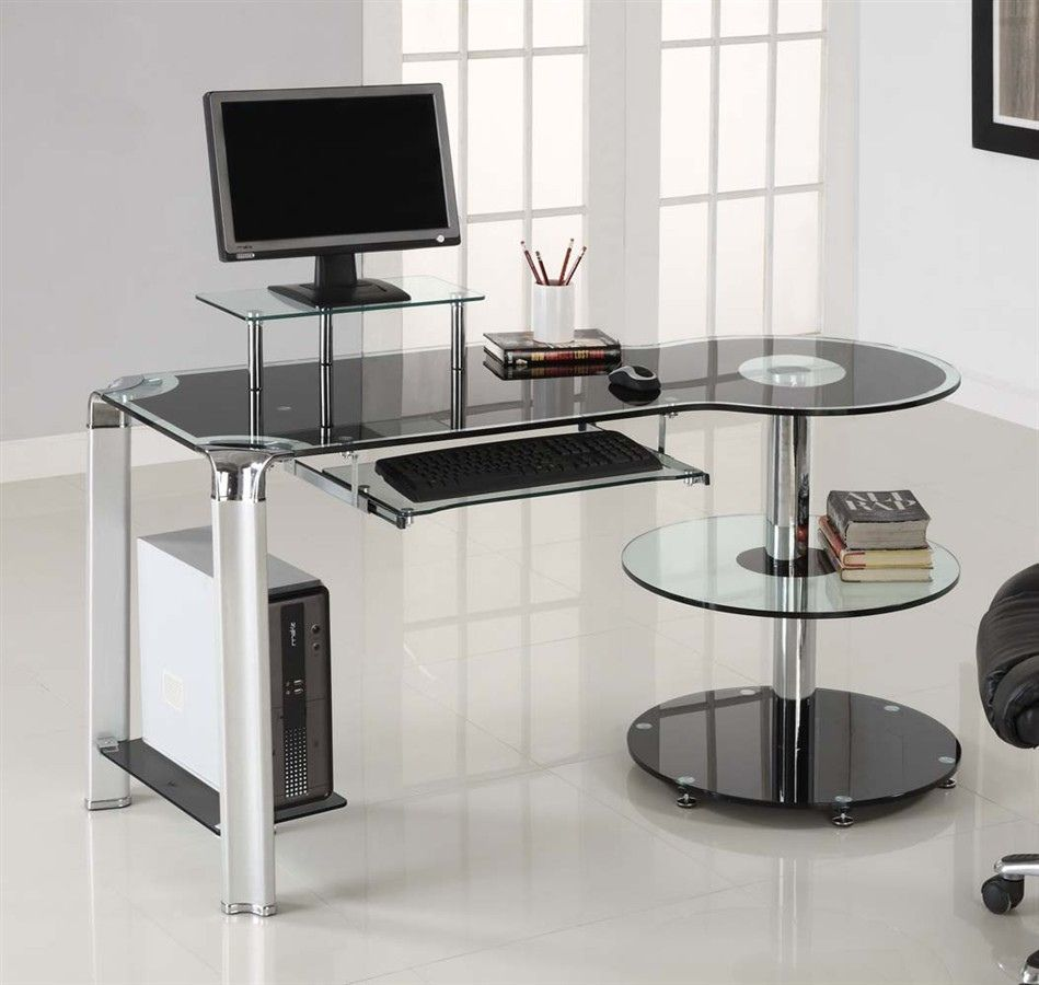 workstation ingenuity preeminent glass top modern desk writing computer kids shaped l white