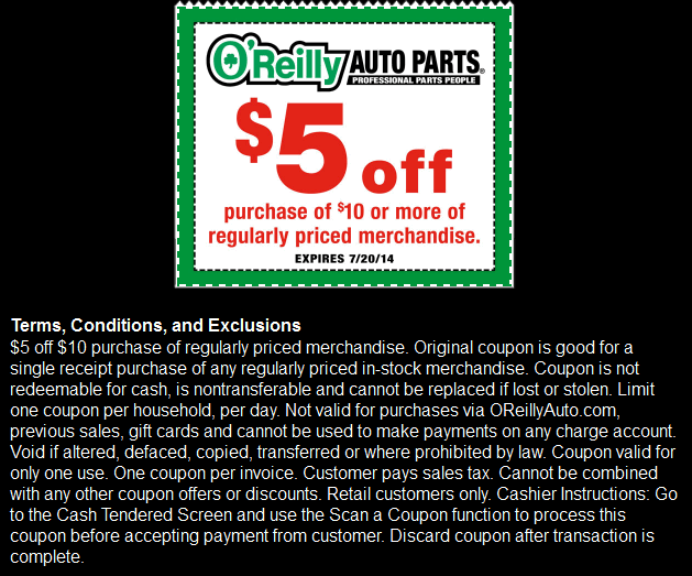 picture regarding O Reilly in Store Printable Coupons identify OReilly Vehicle Sections - $5 off $10 - exp. 07/20/14 - by means of The