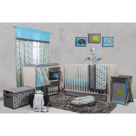 Bacati Elephants 10 Piece Nursery In A Bag Crib Bedding Set Extra Sheet Included For Us Standard Cribs