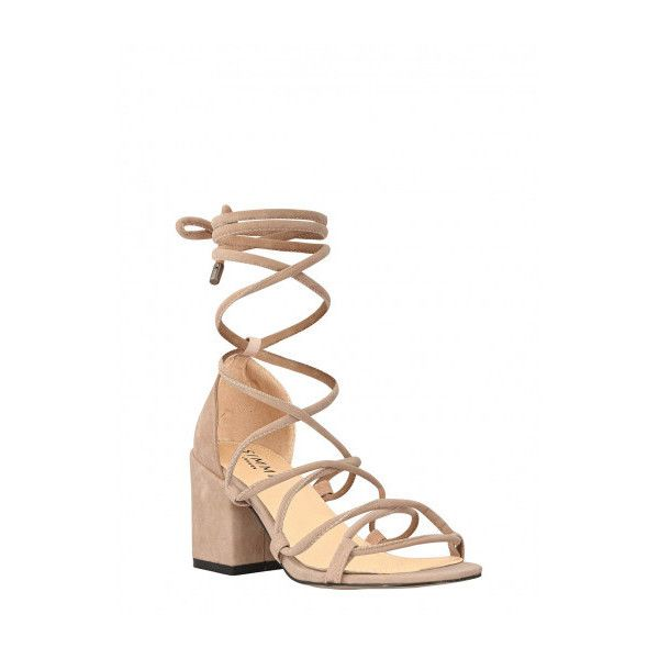c30ba85e958e Kyra Nude Suede Lace Up Mid Block Heels   Simmi Shoes (€36) ❤ liked ...
