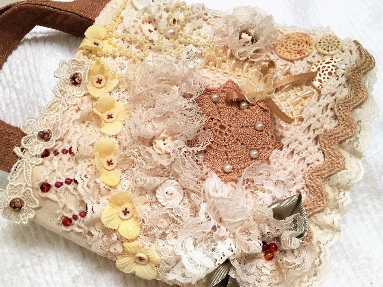 Fabric Gift Bag Keepsake Tote Art Shabby Chic Wedding