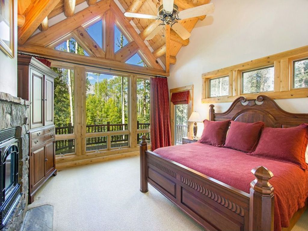 Rustic Master Bedroom with Builtin bookshelf, Old Timber