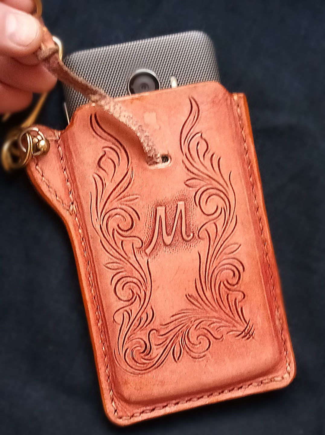 super popular e4664 18db2 Cell phone Biker Case Holster Sheridan floral Hand Tooled, Hand ...