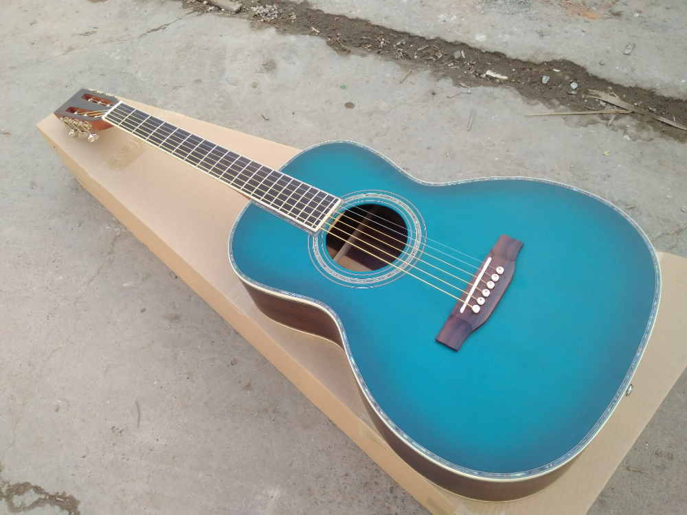 Free Shipping Byron Ooo Body Shape Blueburst Crossroads Madagascar Collectors Grade Acoustic Electric Guit Guitar Acoustic Electric Guitar Semi Acoustic Guitar