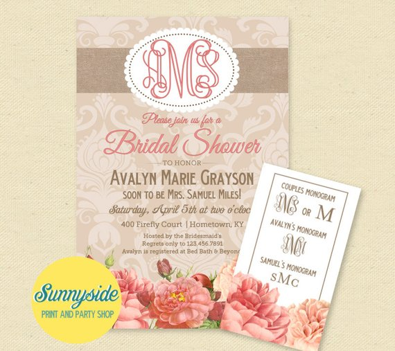 b1fd5a9d1163 Monogram Bridal Shower Invitation