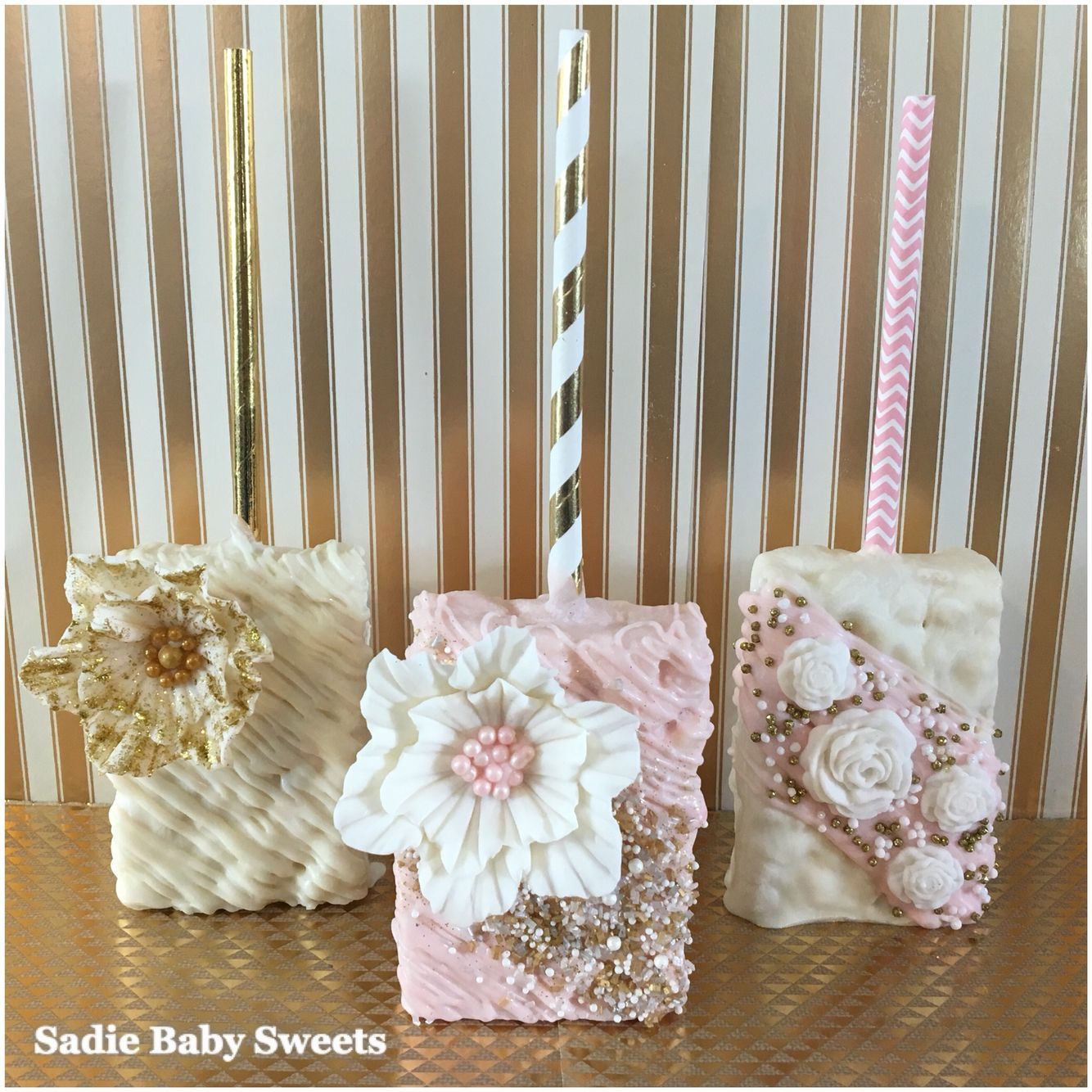 a9c075dd9eab Pretty Pink and Gold Wedding Chocolate Covered Rice Krispies Treats With  Fondant Flowers!