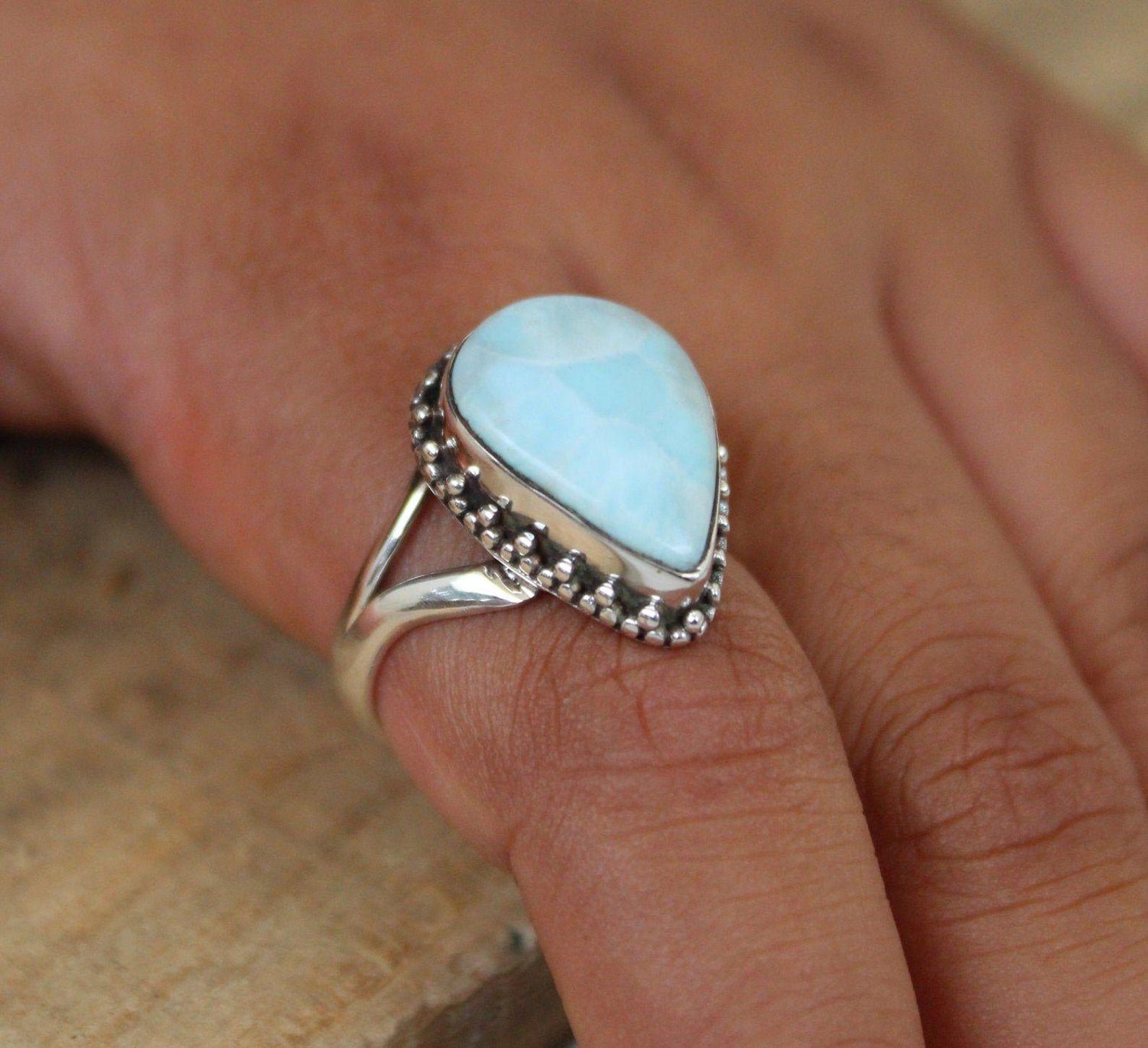 Natural Larimar Ring Larimar Ring Larimar Jewelry Silver Etsy In 2020 Blue Gemstone Rings Larimar Rings Raw Stone Jewelry
