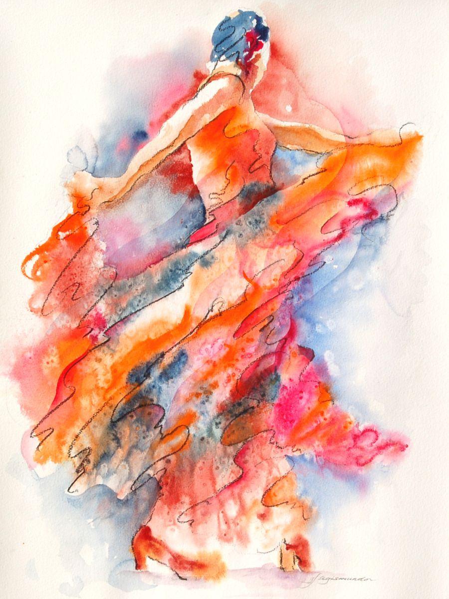 """allure of the Flamenco"" watercolor rendition by Segismundo"
