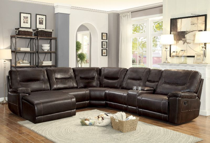 Homelegance 8490 6lcrr 6 Pc Columbus Dark Brown Leather Gel Match Sectional Sofa With Chaise And Recliners Brown Living Room Decor Brown And Blue Living Room Dark Brown Couch Living Room