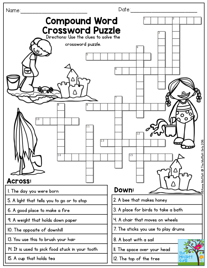 Compound Word Crossword Puzzle The Summer Review NO PREP