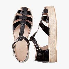 BLACK  Patent  Plateau Sandal
