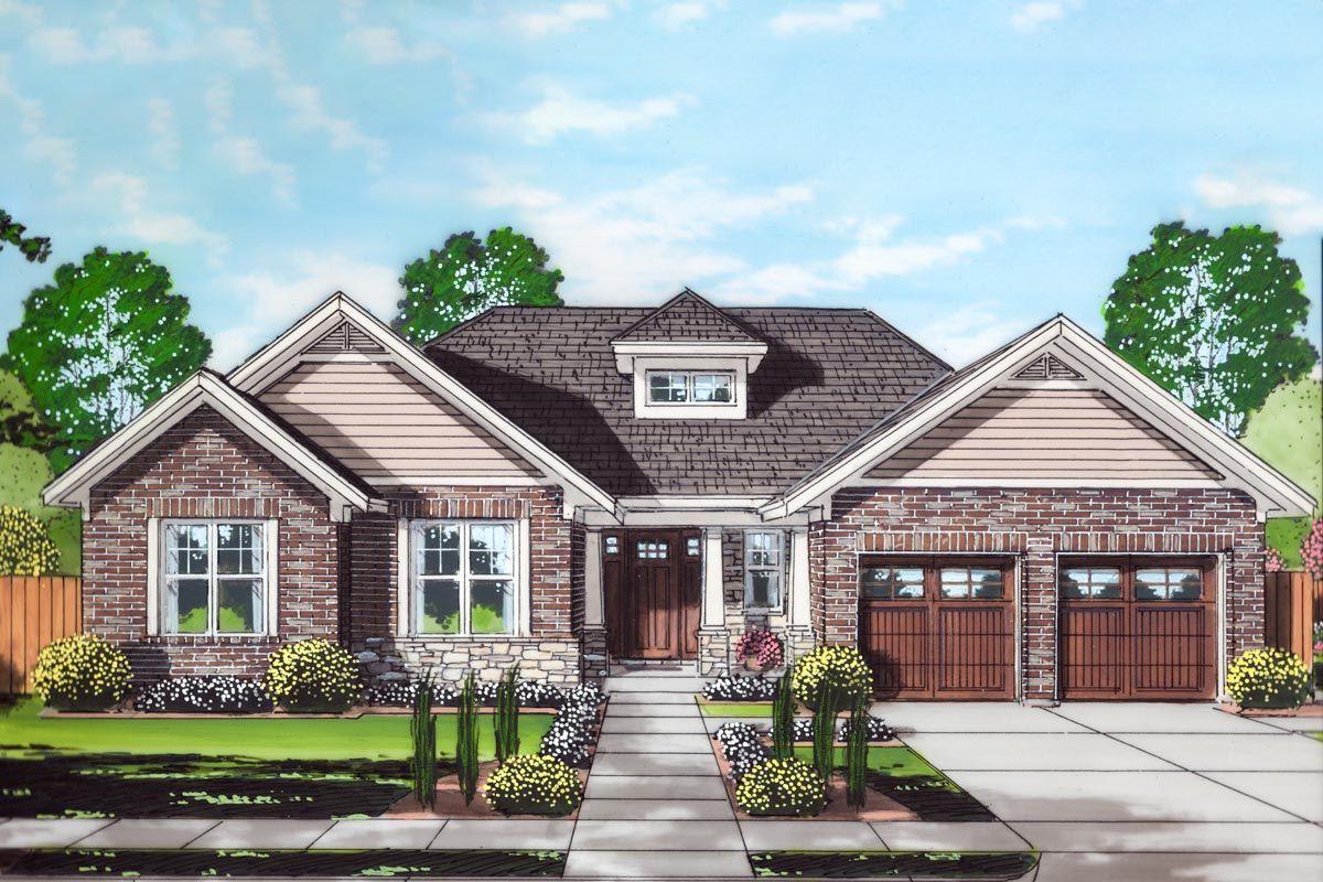 Plan 39288st Step Saving One Story Craftsman Home Plan Craftsman House Plans Craftsman House Brick House Plans