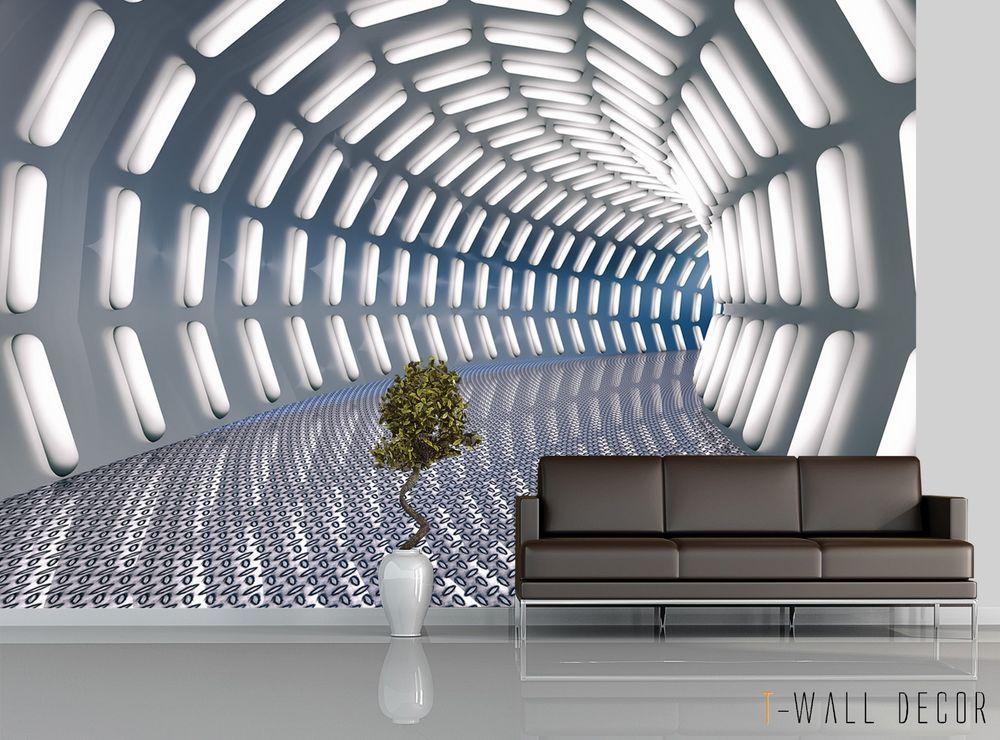 3d Tunnel Light Wallpaper Mural Room Futuristic Graphic Wall Decor