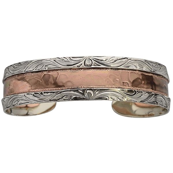 Bar V Ranch Hammered Copper and Silver Cuff 314-220