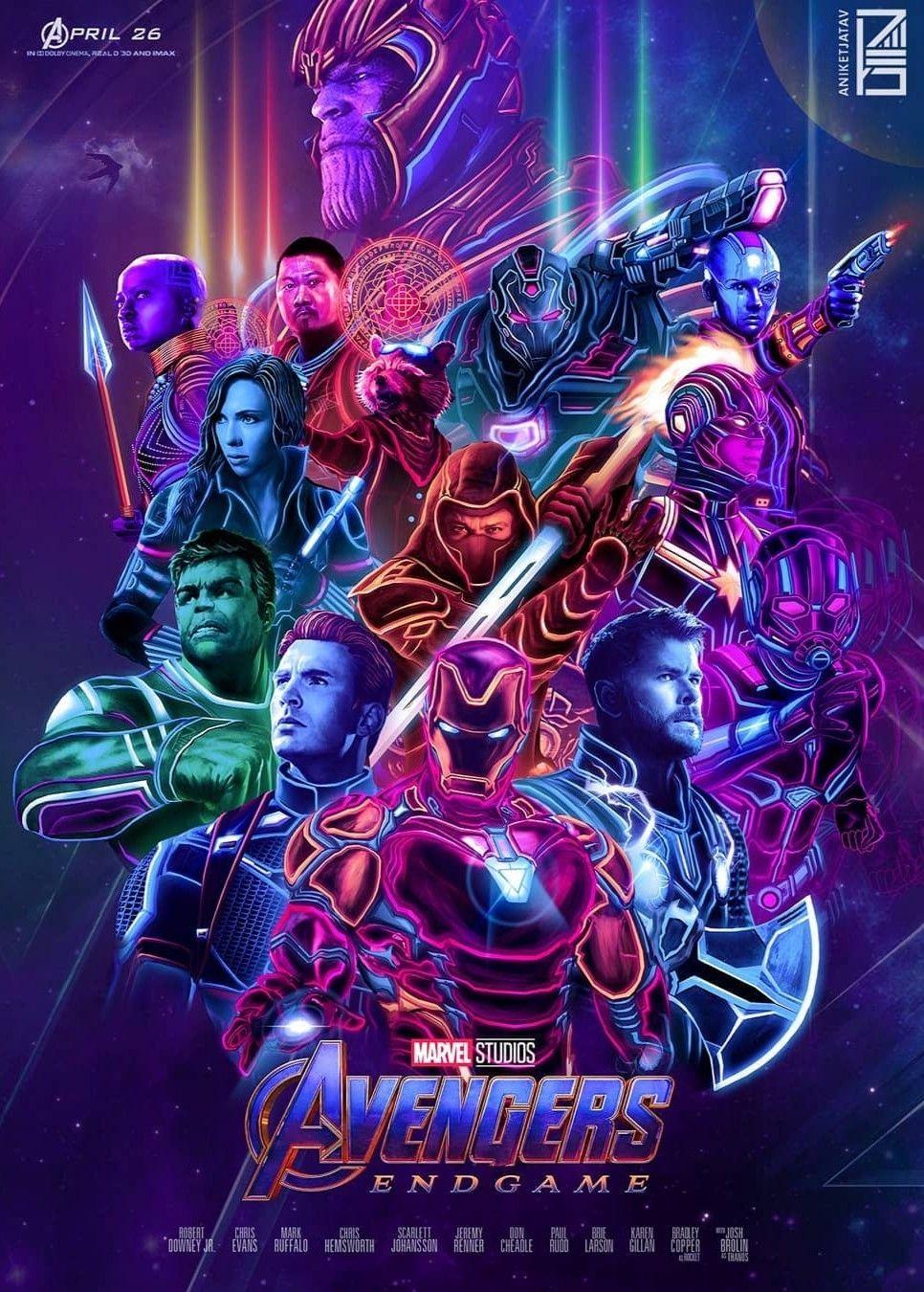Avengers Endgame Neon Wallpaper