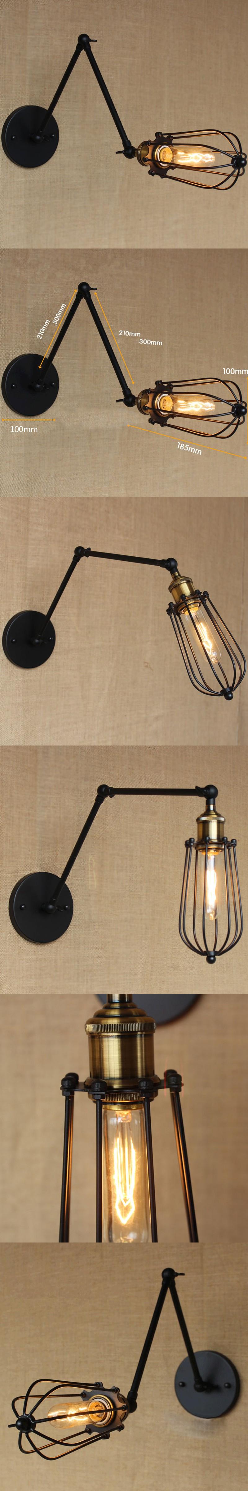 Free shipping Loft Industrial Vintage Wall Lamp E27 decoration Edison bulb Bedroom Bedside Mirror Modern Lighting home lighting  $60