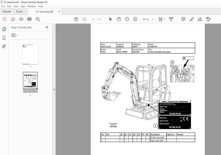 Volvo Ec20b Xtv Ec20bxtv Compact Excavator Service Parts Catalogue Manual Parts Catalog Excavator Manual