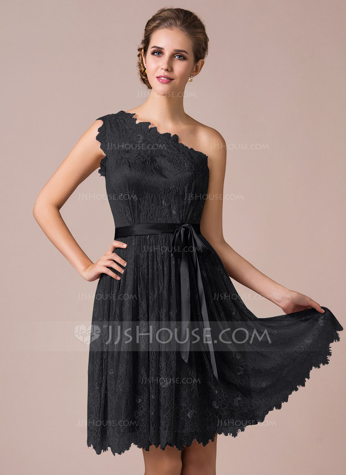 A-Line Princess One-Shoulder Knee-Length Charmeuse Lace Bridesmaid Dress  With Bow(s) (007056818) - JJsHouse bb3144aa8