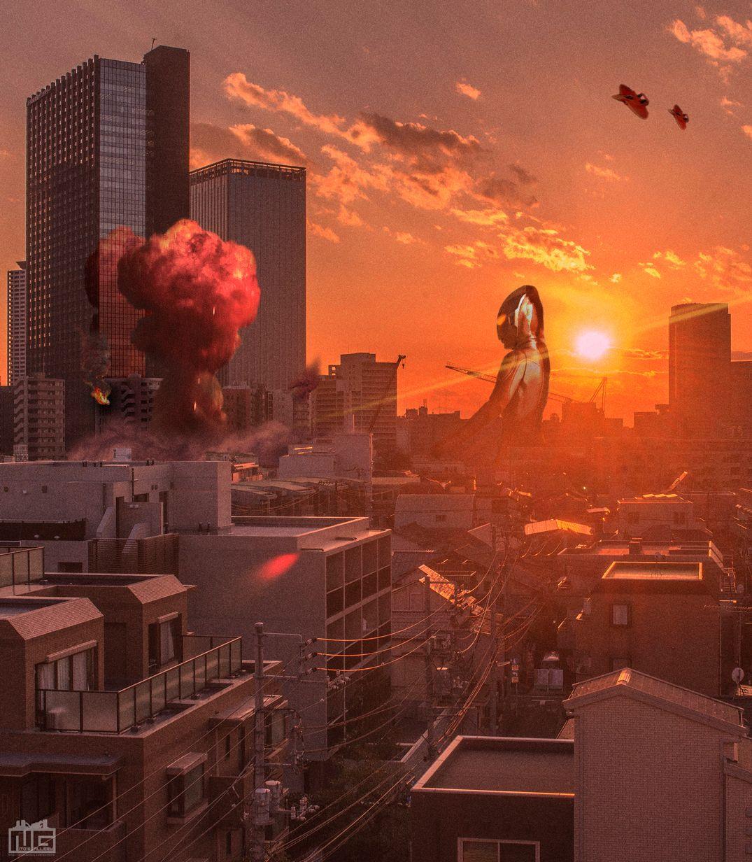 デジラマ 夕日の闘い終わって 帰ってきたウルトラマン 帰ってきたウルトラマン 風景 美しい風景写真