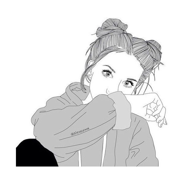 Tumblr Girl Drawings ❤ liked on Polyvore featuring outline