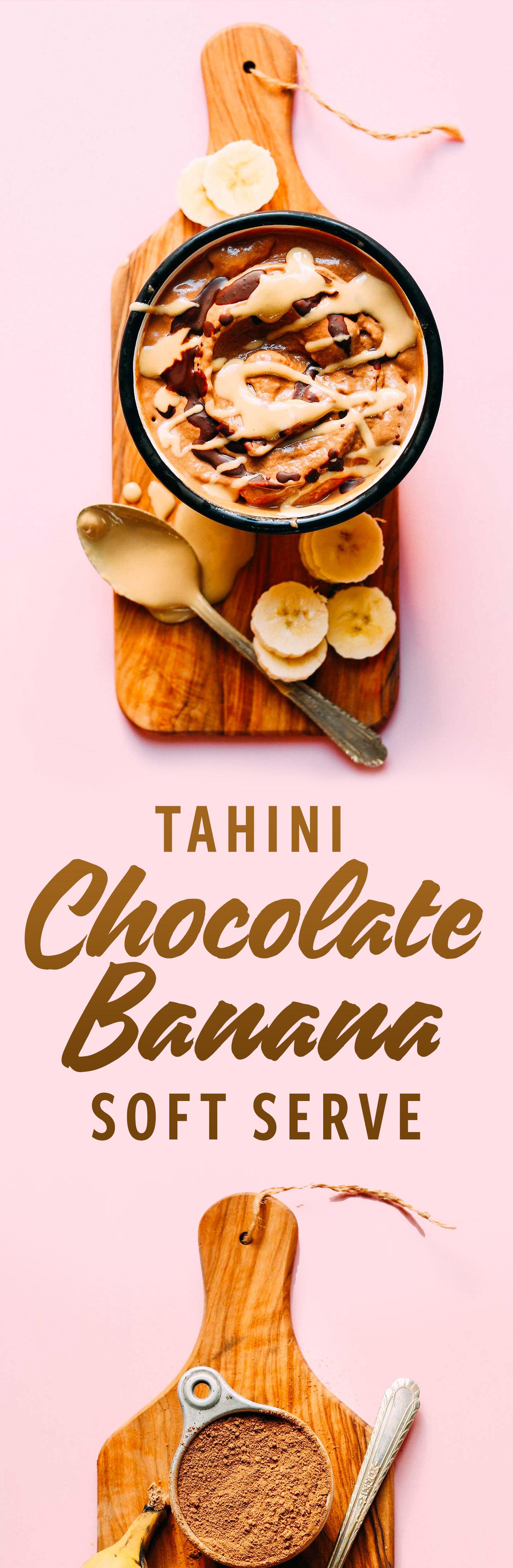 HEALTHY Chocolate Tahini Banana Soft Serve! 4 ingredients, naturally sweet, SO delicious! #vegan #softserve #banana #icecream #glutenfree #chocolate #tahini #minimalistbaker