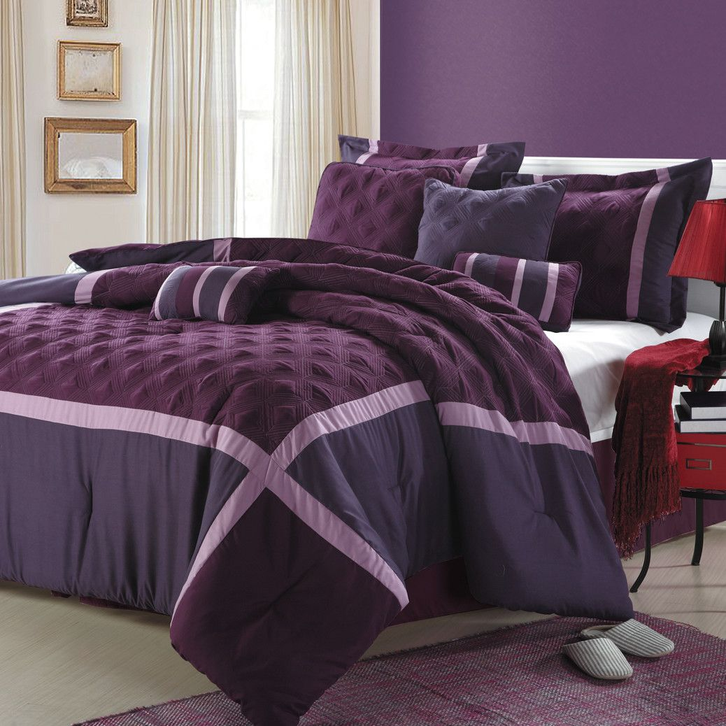 Chic Home Quincy 8 Piece Comforter Set Comforter Sets Purple