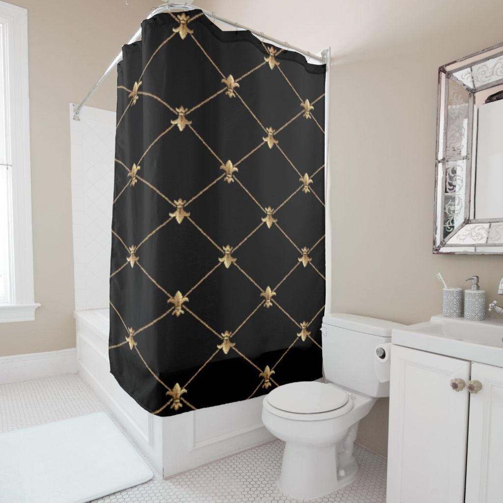 Elegant Fleur De Lis Tapestry Shower Curtain Blue Shower