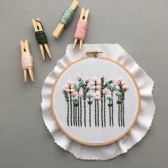 DIY Babys Zimmer Dekor, Blumenstickerei Digital Muster, Handstickerei Design, bestickte Hoop, #pastelpattern