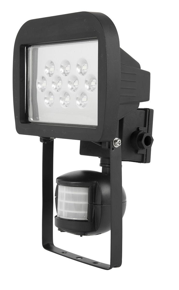 Crest 10w Led Floodlight With Sensor In Black Security Lights Led Sensor