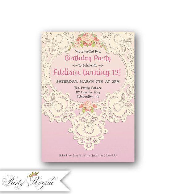 Lace 12th birthday invitations for girls teen birthday girls lace 12th birthday invitations for girls teen birthday filmwisefo