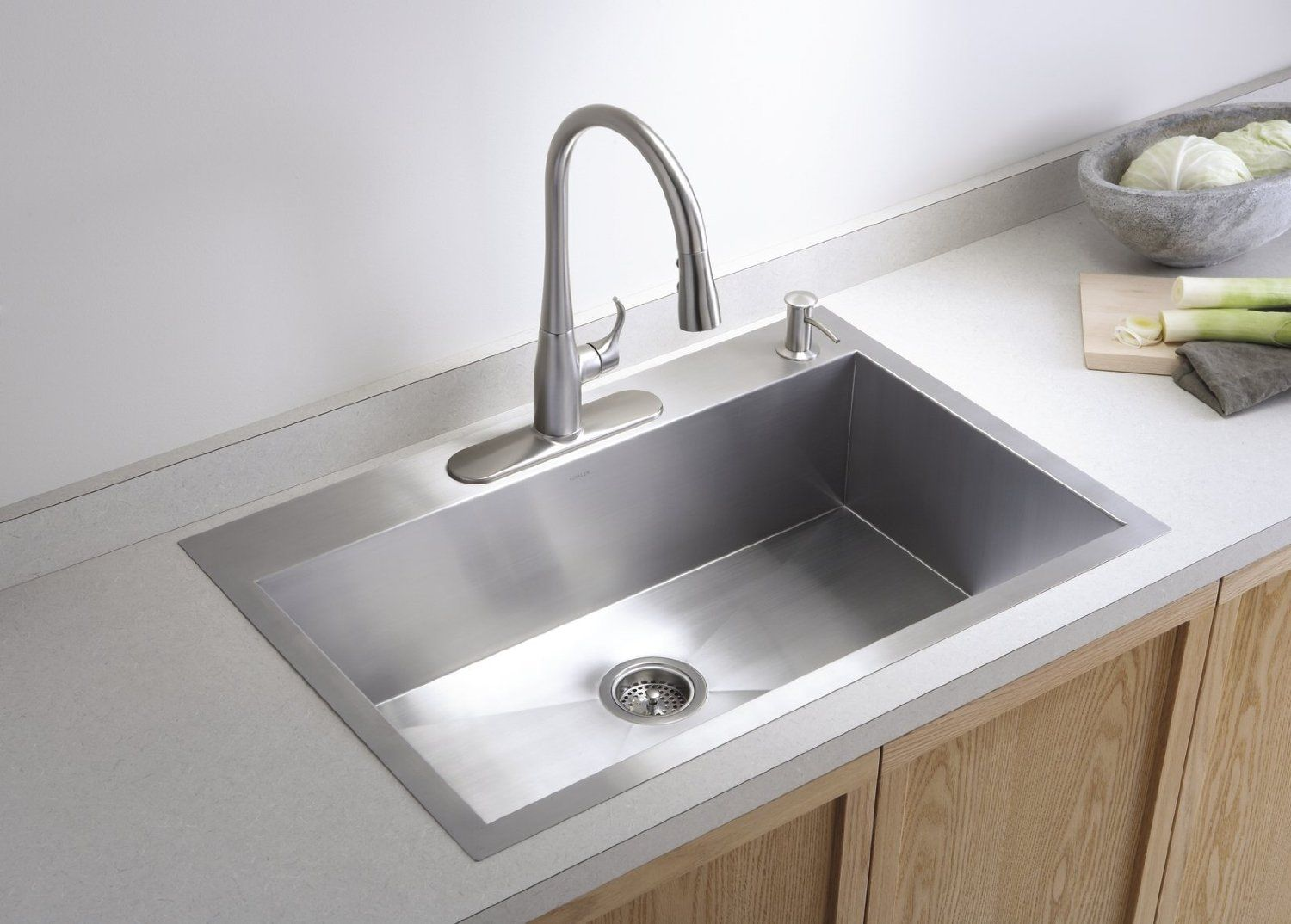 Kohler Vault Dual Mount 25 In Built With Stainless Steel For Added Toughness This Large Single Basin Sink Will Complement Your Kitchen Decor