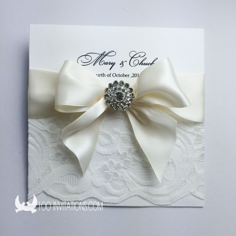 Elegant lace wedding invitation with ribbon bow rhinestone brooch elegant lace wedding invitation with ribbon bow rhinestone brooch stopboris Gallery