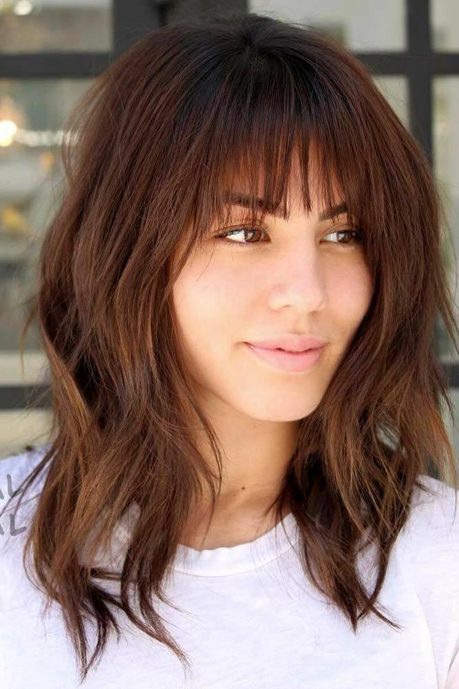 Brunette Medium Length Lob With Bangs Hair Color Cuts And